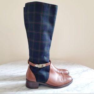 Etienne Aigner Plaid & Leather Riding Boots